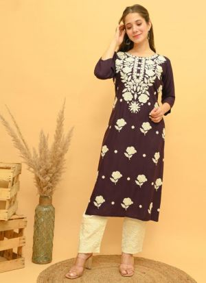 Dark Brown Rayon Embroidery Suit