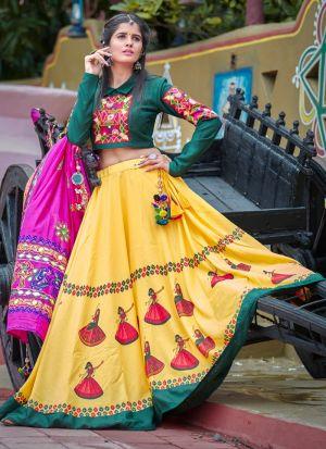 Dark Green And Yellow Color Chaniya Choli Gujarati