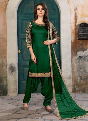 Dark Green Art Silk Aanaya New Design Partywear Suit