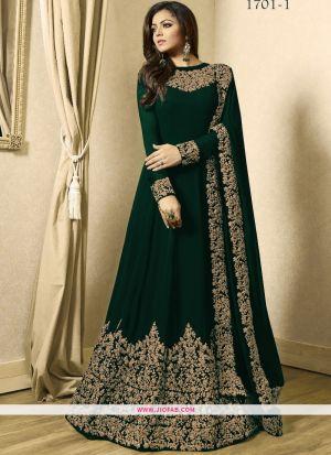 Dark Green Cording Work Foux Georgette Celebrity Salwar Suit
