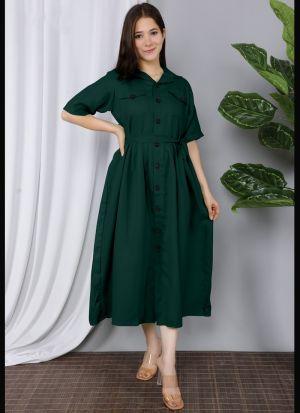 Dark Green Cotton Plain Short Kurti
