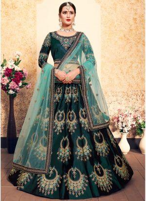 Dark Green Embroidered Designer Bridal Lehenga Choli