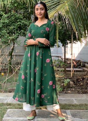 Dark Green Faux Georgette Dress