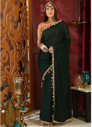 Dark Green Pure Georgette Pearl Metalic Party Wear Designer Saree