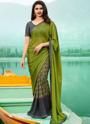 Dark Lime Georgette Beautiful Printed Saree