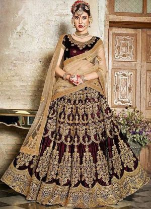 Dark Maroon Phantom Silk Bridal Lehenga Choli With Mono Net Dupatta