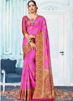Dark Pink Designer Nylon Silk Saree Collection