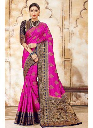 Dark Pink Nylon Silk Designer Sarees For Wedding