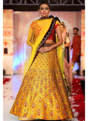 Dark Yellow Banglori Silk Fancy Thread Work Lehenga Choli With Mono Net Dupatta
