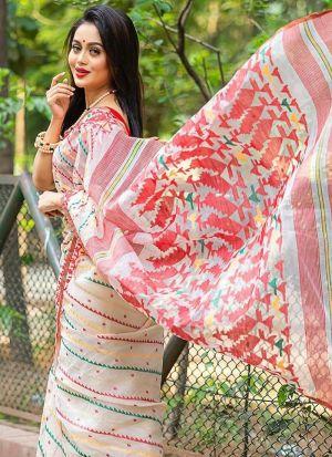 Dazzling White Chanderi Printed Saree