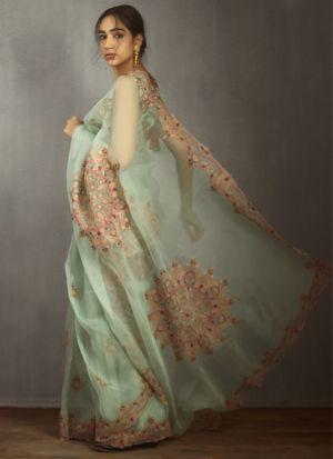 Decent Look Pastel Green Embroidered Saree
