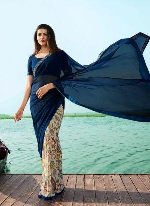 Deep Ocean Blue Georgette Beautiful Printed Saree