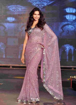 Deepika Padukone Mauve Sequence Saree