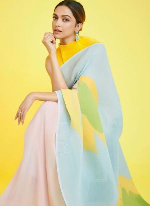 Deepika Padukone Multi Color Crush Saree
