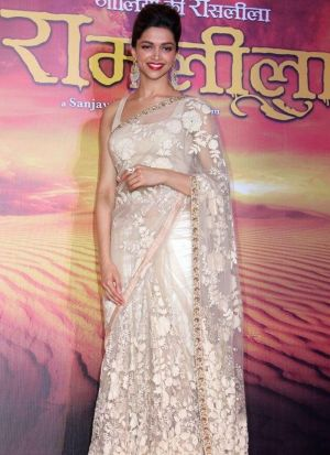 Deepika Padukone White Naylon Net Saree