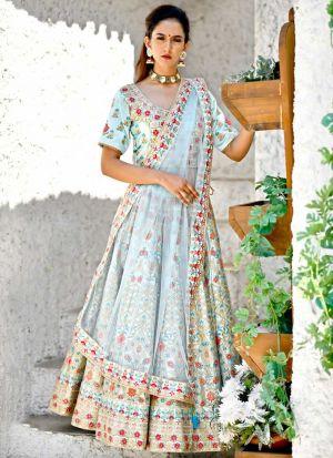 Delightful Arctic Blue Malai Satin Designer Lehenga Choli For Sangeet Ceremony
