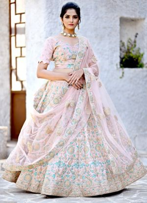 Delightful Crepe Pink Malai Satin Designer Lehenga Choli For Engagement