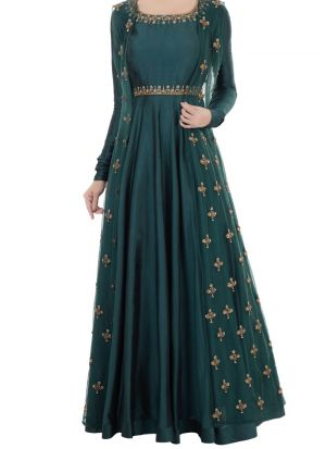 Demanded Bottle Green Two Tone Taffeta Silk Thread Work Gown