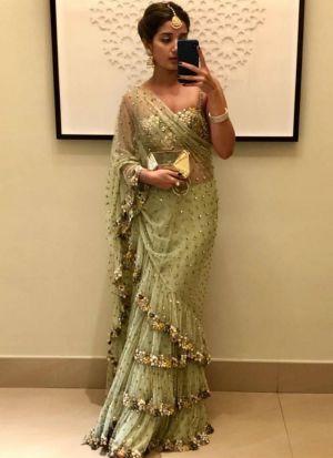Demanded Light Green Fancy Thread Work Butterfly Pallu Frill Saree