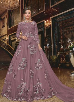 Demanded Mauve Net Embroidered Gown For Party