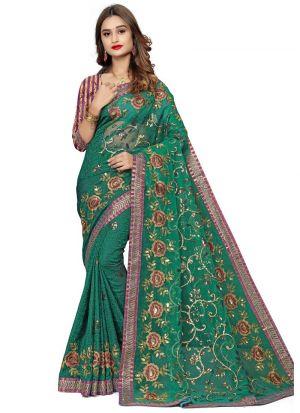 Demanding Dark Green Jacquard Net Saree
