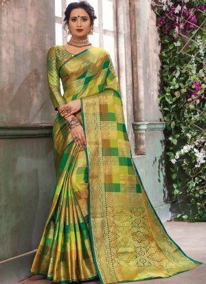 Demanding Multi Color Banarasi Pure Silk Saree