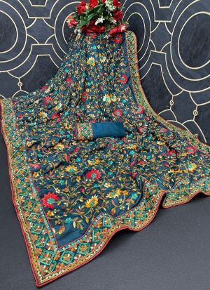 Denim Blue Multi Thread Work Saree