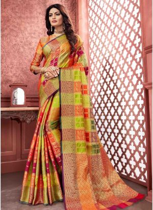 Designer Beautiful Multi Color Banarasi Pure Silk Saree
