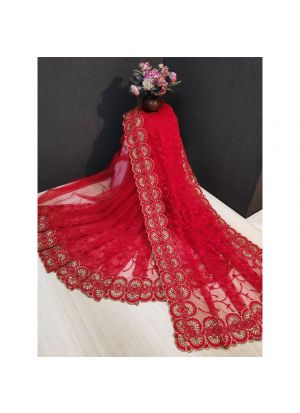 Designer Beautiful Red Heavy Nylon Net Saree