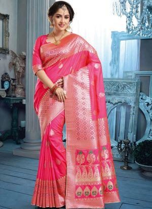 Designer Beautiful Salmon Pink Banarasi Pure Silk Saree