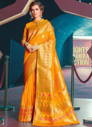 Designer Beautiful Yellow Jacquard Silk Saree