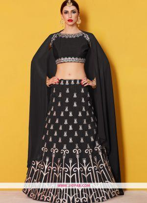 Designer Black Embroidered Art Silk Festival Lehenga Choli