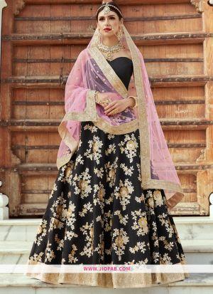 Designer Black Embroidered Crepe Silk Wedding Lehenga Choli