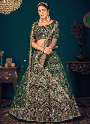 Designer Dark Green Georgette Lehenga Choli