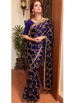 Designer Dark Purple Sana Silk Fancy Thread Work Saree