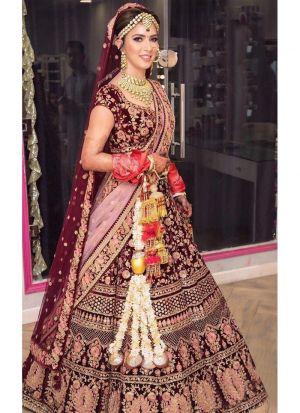 Designer Exclusive Pure Velvet Maroon Colour Bridal Lehenga Choli