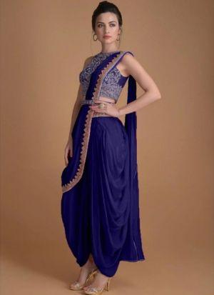 Designer fancy thread work Purple Suit