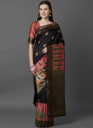 Designer Festival Black Soft Silk Fancy Saree