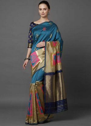Designer Festival Blue And Beige Soft Silk Fancy Saree