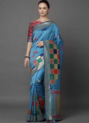 Designer Festival Sky Blue Soft Silk Fancy Saree