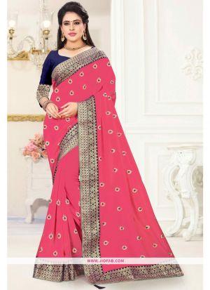 Designer Gajari Vichitra Silk Embroidered Saree