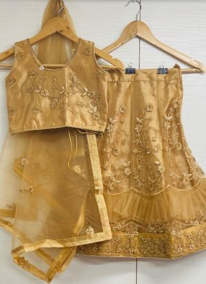 Designer Golden Embroidered Net Frill Lehenga Choli