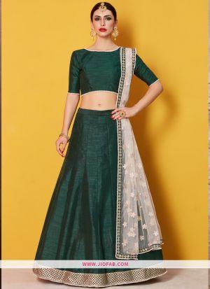 Designer Green Embroidered Art Silk Traditional Lehenga Choli