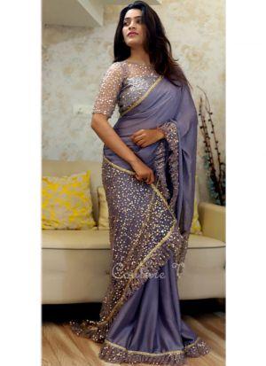 Designer Heavy Powder Blue Paper Silk Naylon Net Party Wear Saree