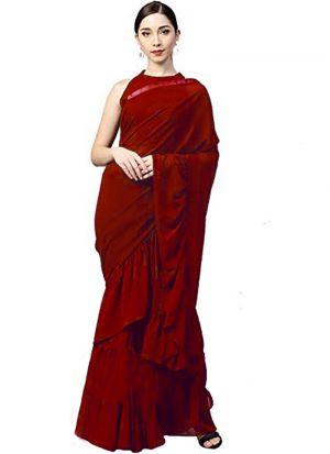 Designer Heavy Red Georgette Silk Party Wear Ruffle Saree