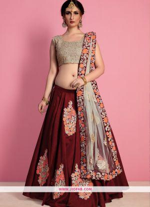 Designer Maroon Embroidered Raw Silk Bridal Anarkali Lehenga