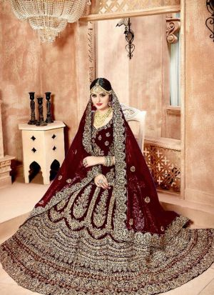Designer Maroon Velvet Diamond Work Wedding Lehenga Choli With Mono Net Dupatta