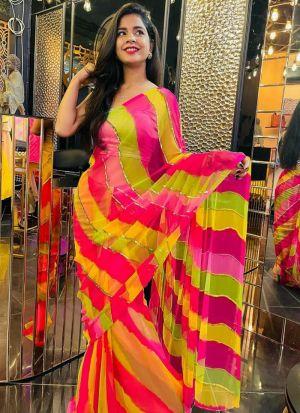 Designer Multi Color Leheriya Printed Saree