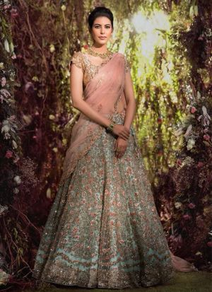 Designer Nura Silk Sky Blue Embroidered Lehenga Choli