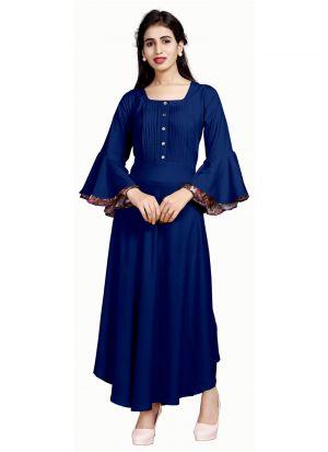 Designer Occasion Wear Blue Pure Heavy Rayon Kurti